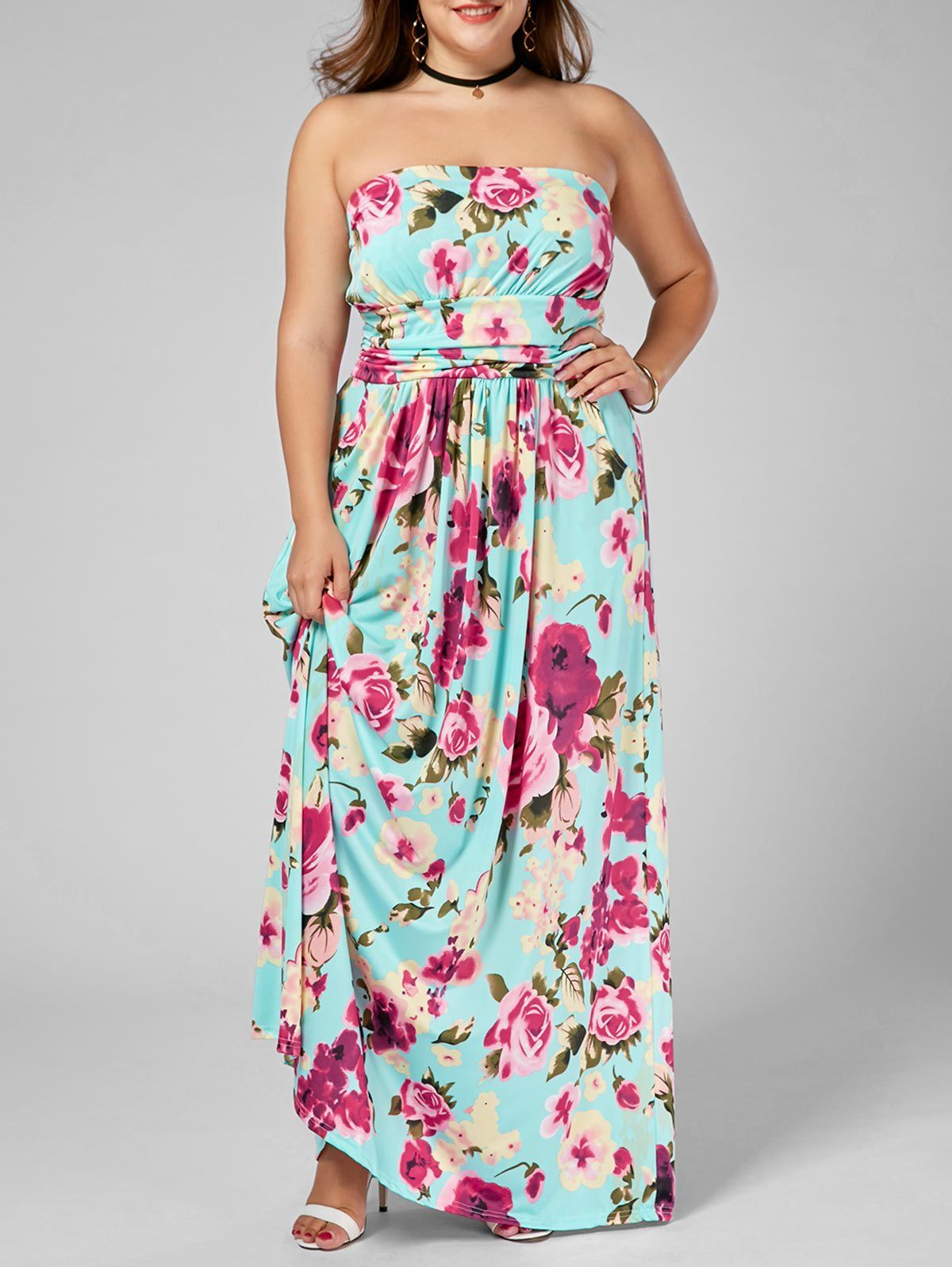 aaeb6637d4 Strapless Floral Boho A-Line Maxi Dress  (2XL-5XL) in 2019