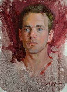 Head Study of Young Man by Albin Veselka Oil ~ 15 x 11