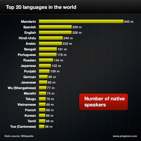 Top 20 languages in the world
