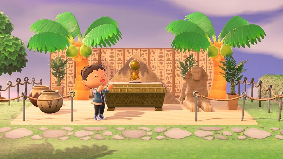 The Egyptian Part In My Monuments Area Waiting For Ankha To Come Around Here To Take Some Pics H In 2020 Animal Crossing Pc Animal Crossing Game Animal Crossing Qr