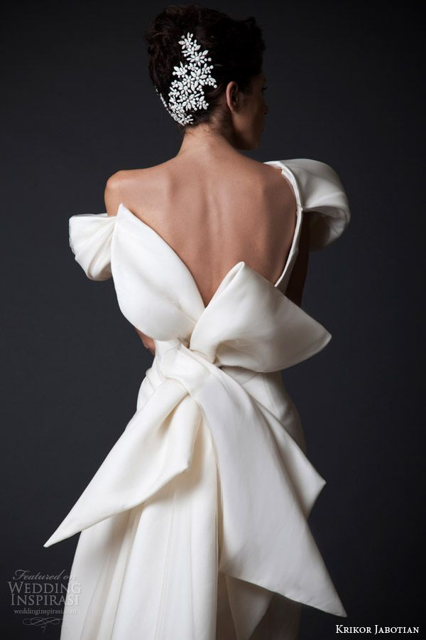 krikor jabotian wedding dresses fall winter 2014 2015 amal couture  collection off shoulder gown oversized bow back view close up 6e1e58c6c9