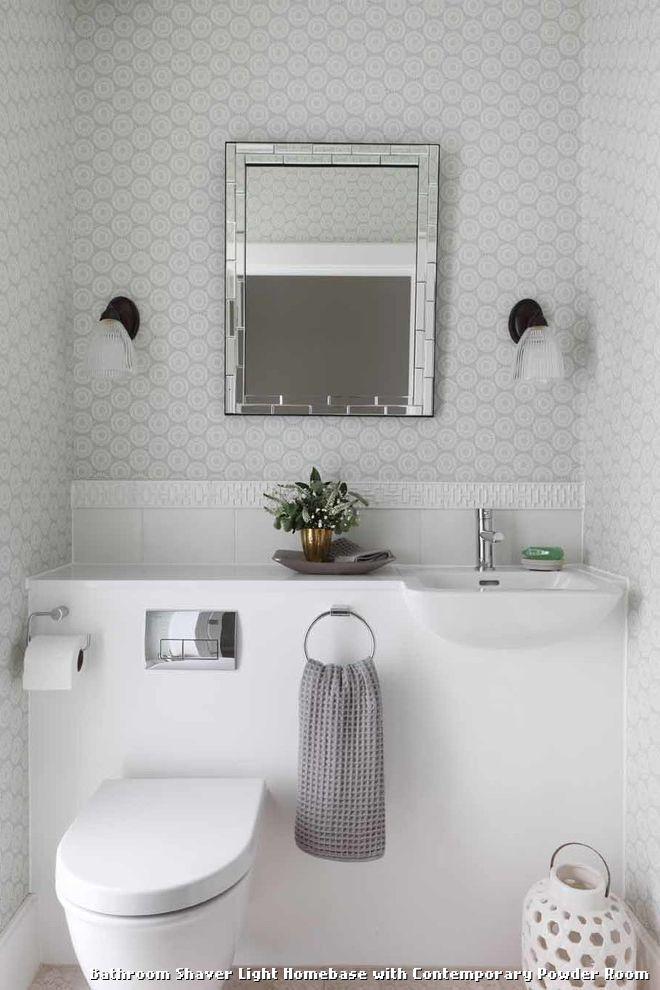 Bathroom shaver light homebase with contemporary powder room with a bathroom shaver light homebase with contemporary powder room with a fretwork tile aloadofball Gallery