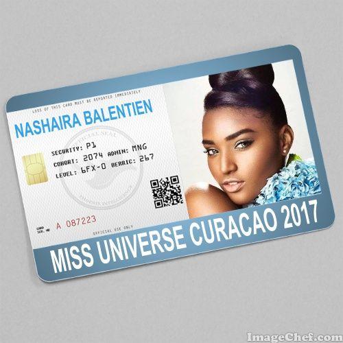 Nashaira Balentien Miss Universe Curacao  Card  Id Card