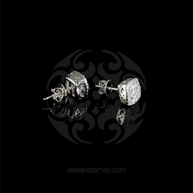 Lustre of london silver cushion square stud earrings alexandra may jewellery