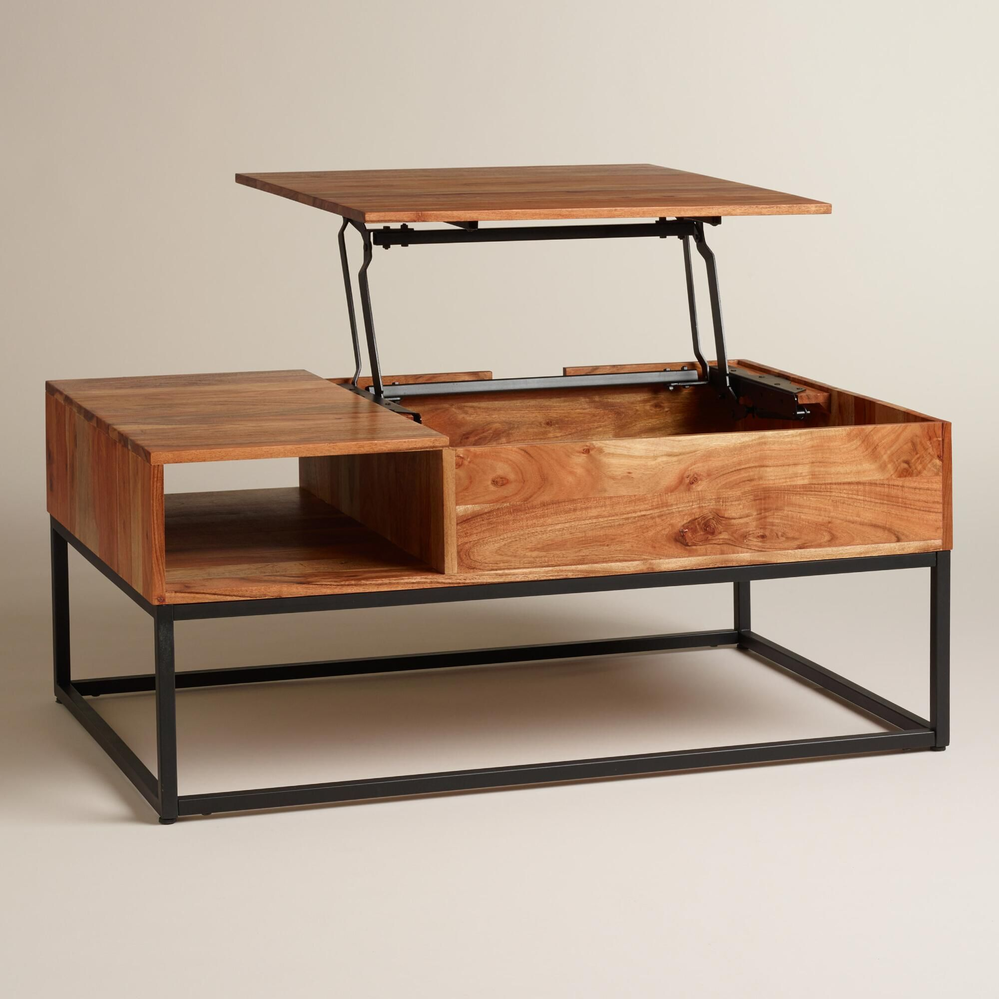 Richly grained acacia wood on a sleek metal base there s more to
