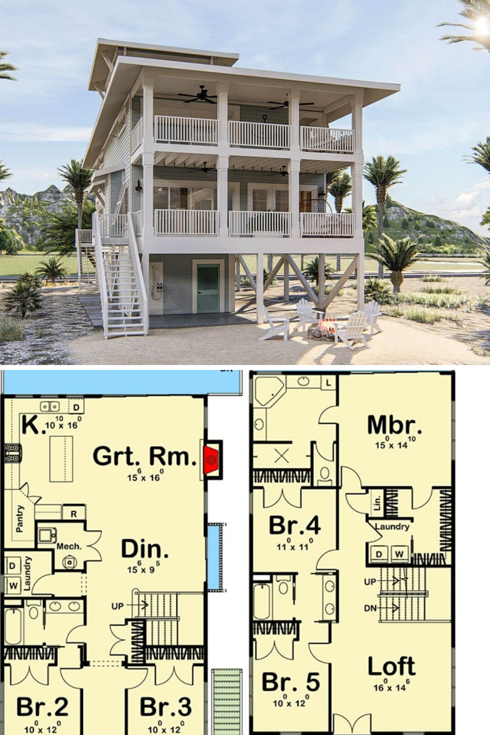5 Bedroom Three Story Beach House With A Lookout Floor Plan Beach House Floor Plans Beach House Plans Vacation House Plans