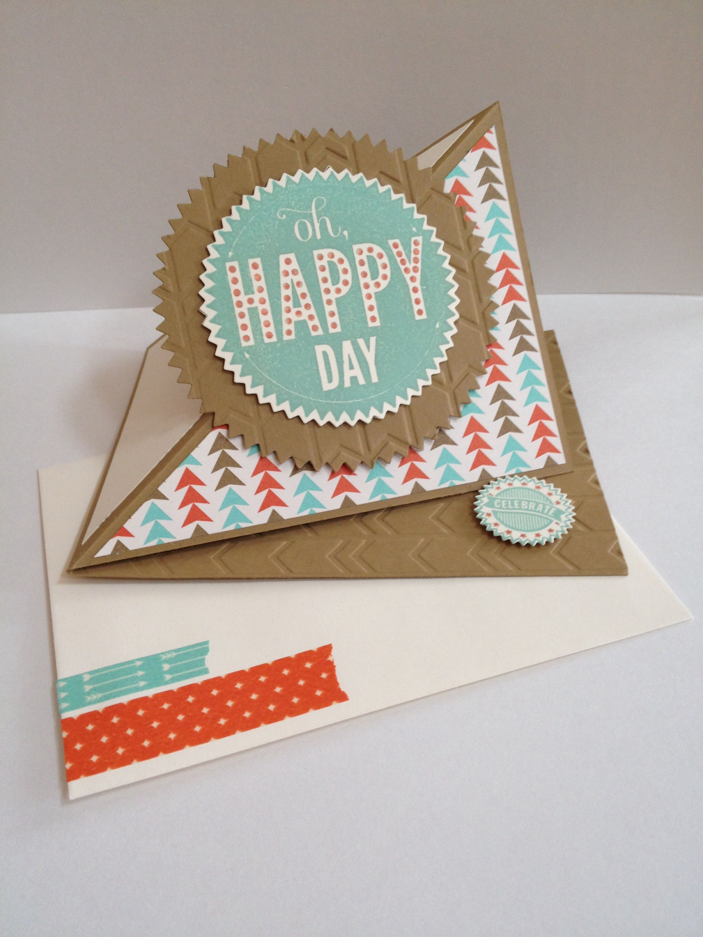 Oh Happy Day Fun Fold Easel Card By Kendra Stampin Up