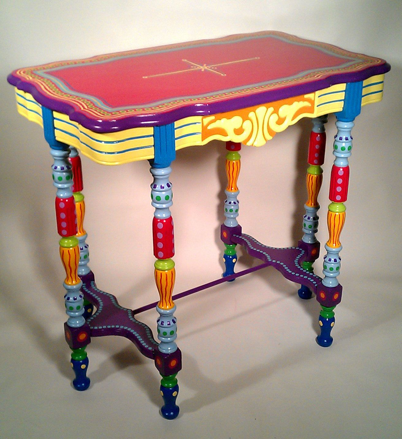 Funky Tables sold sample of custom work-hand painted furniture- side table or
