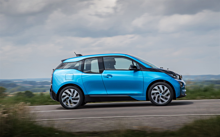 Download Wallpapers BMW I3 2017 Electric Car Compact Hatchback Blue New Cars 4k