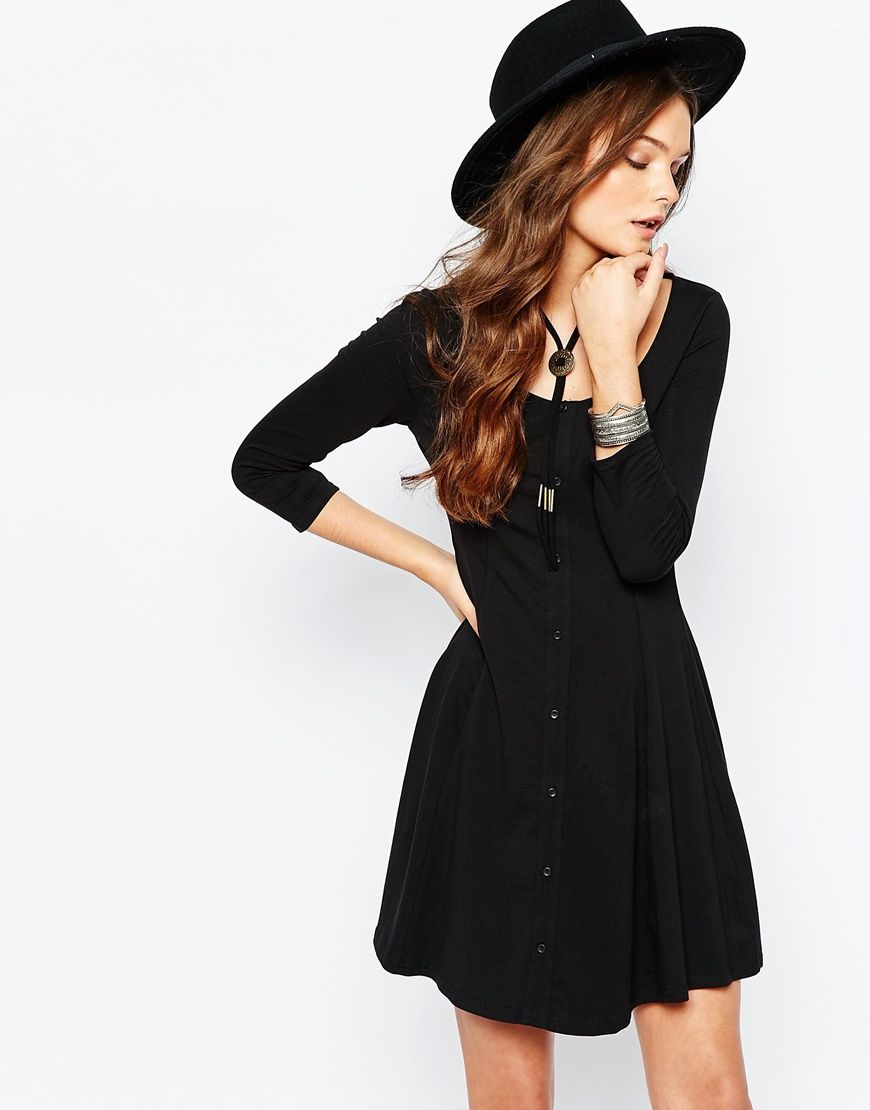 New look button through skater dress clothing things pinterest