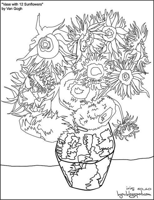 Van Gogh 12 Sunflowers Paint By Number No Numbers Flickr Photo Sharing Van Gogh Drawings Sunflower Painting Sunflower Drawing