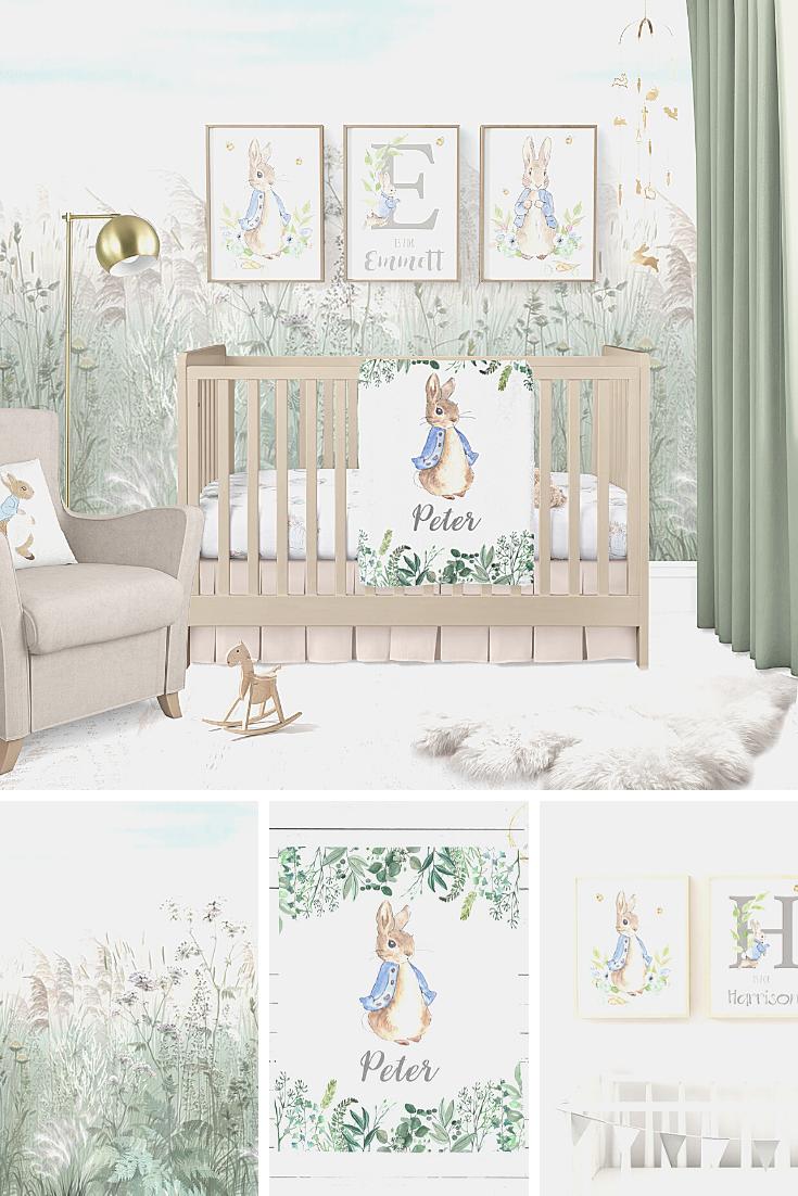 A Gender Neutral Peter Rabbit Nursery Alphadorable Custom Nursery Art And Decor Baby Room Decor Neutral Baby Girl Nursery Room Gender Neutral Baby Nursery