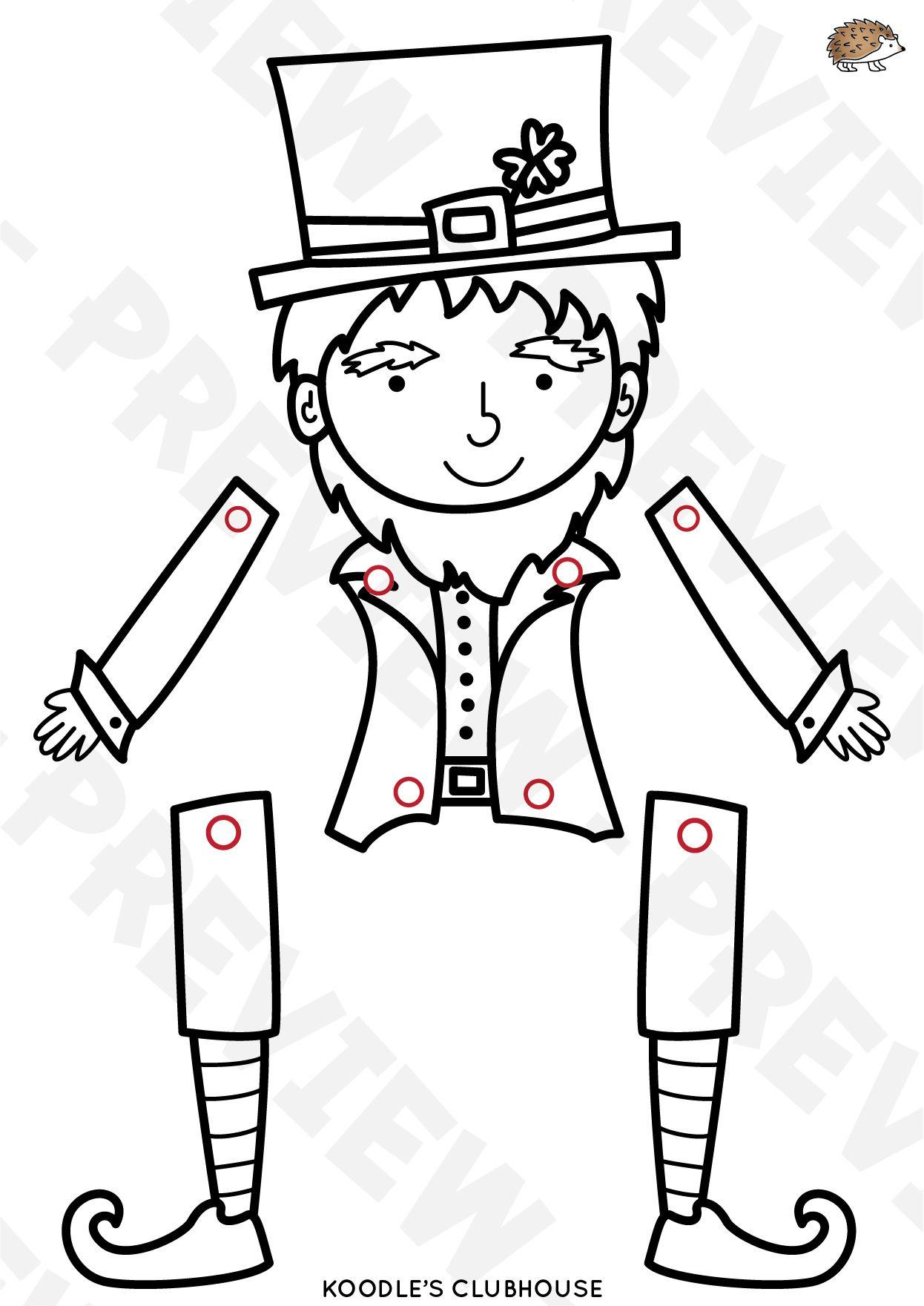 St Patrick S Day Leprechaun Puppet Arts And Crafts St Patricks Day Crafts For Kids St Patrick S Day Crafts Leprechaun Craft Template