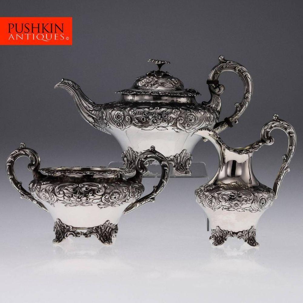 ANTIQUE 19thC VICTORIAN SOLID SILVER 3 PIECE TEA SET LONDON c 1838