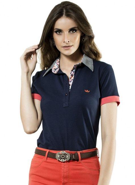 camisa polo feminina marinho principessa alfreda  534b2c47d6786