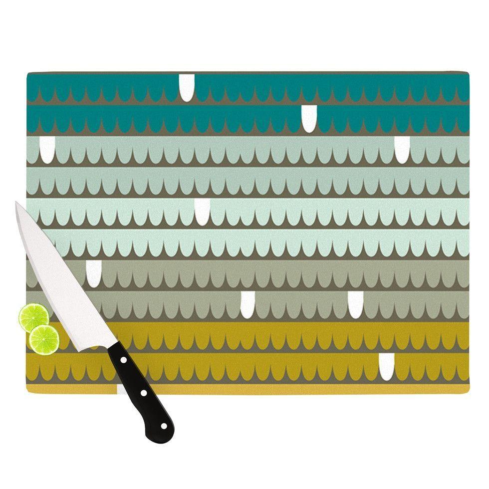 """Pellerina Design """"Teal Scallops"""" Blue Aqua Cutting Board"""
