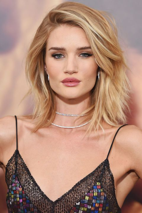 The bob and lob are two of spring's top cuts. See the 36 best celebrity takes on it—here, Rosie Huntington-Whiteley.