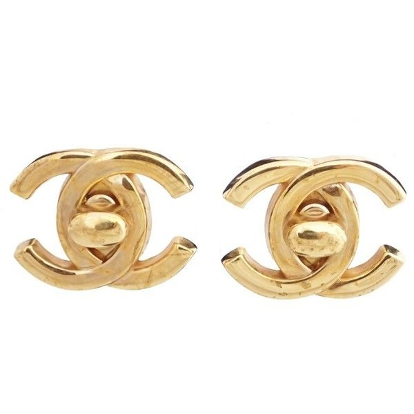 0fa4ce464 Pre-owned Chanel Gold-Tone CoCo Earrings ($510) ❤ liked on Polyvore  featuring jewelry, earrings, gold tone jewelry, goldtone jewelry, gold tone  earrings, ...