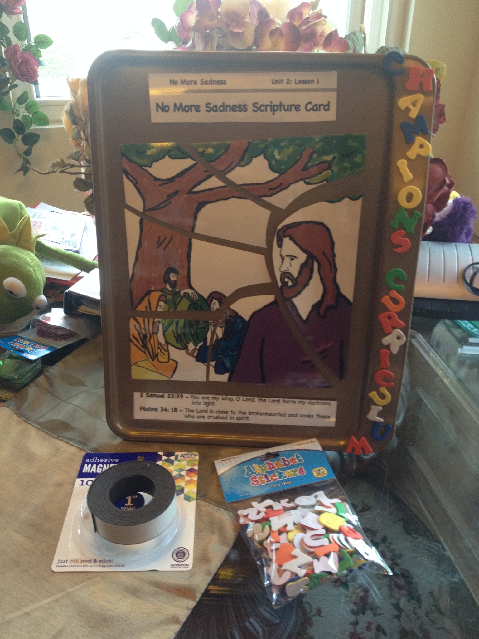 """Make a great visual for each Bible lesson in the curriculum! Blow up the visual for the lesson, cut it up into puzzle pieces, laminate them, and adhere a piece of magnetic tape onto the back of each piece and encourage the students to """"put the puzzle together""""."""