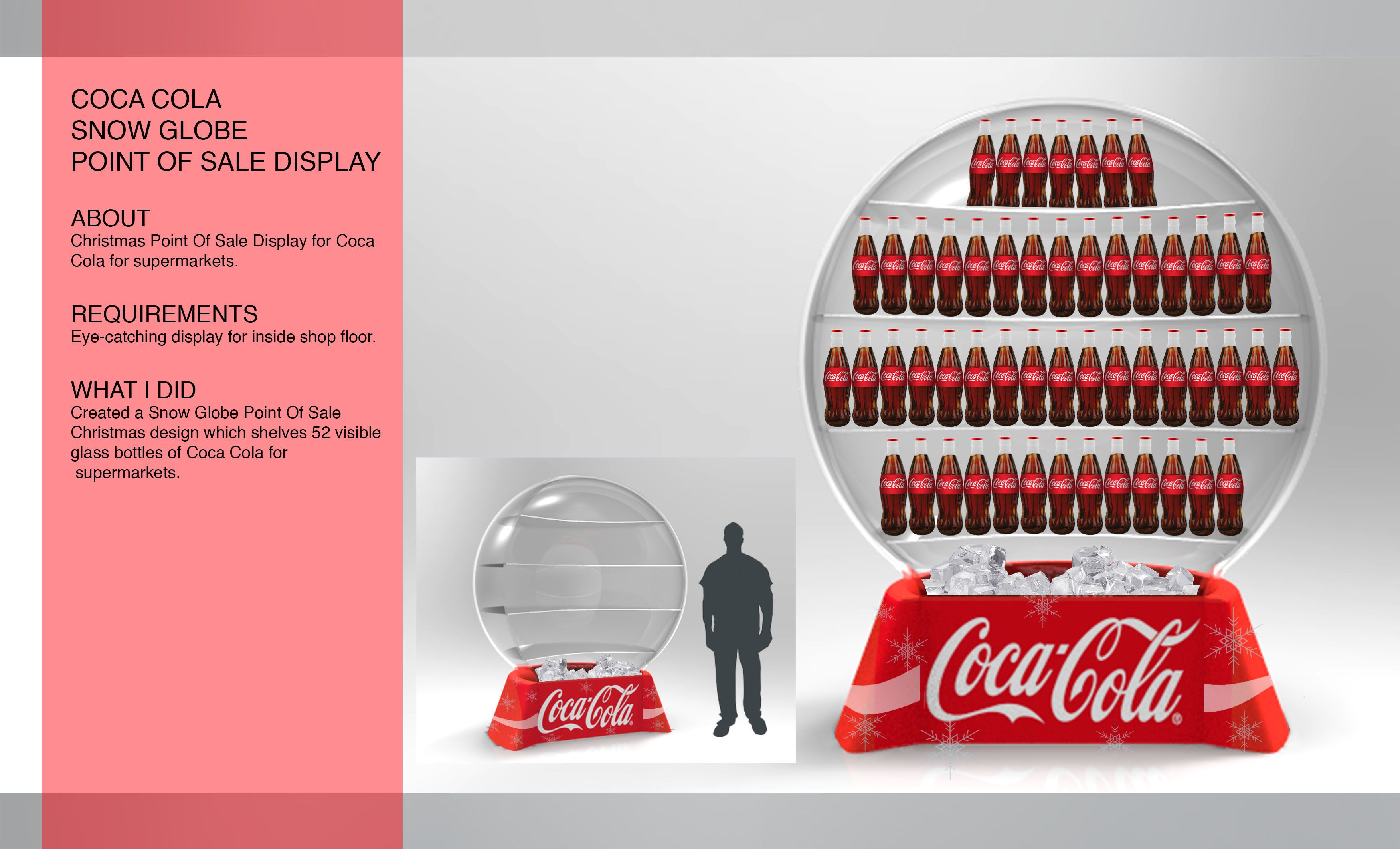 Posm design sofy posm design - Created A Snow Globe Point Of Sale Christmas Design Which Shelves 52 Visible Glass Bottles Of Coca Cola For Supermarkets