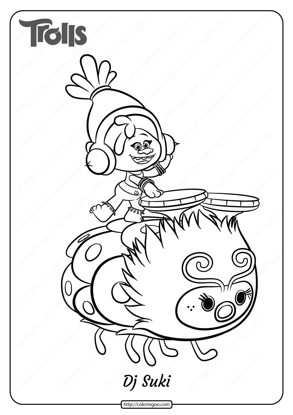 Free Printable Trolls Dj Suki Pdf Coloring Page 13 In 2020 Cartoon Coloring Pages Poppy Coloring Page Coloring Pages