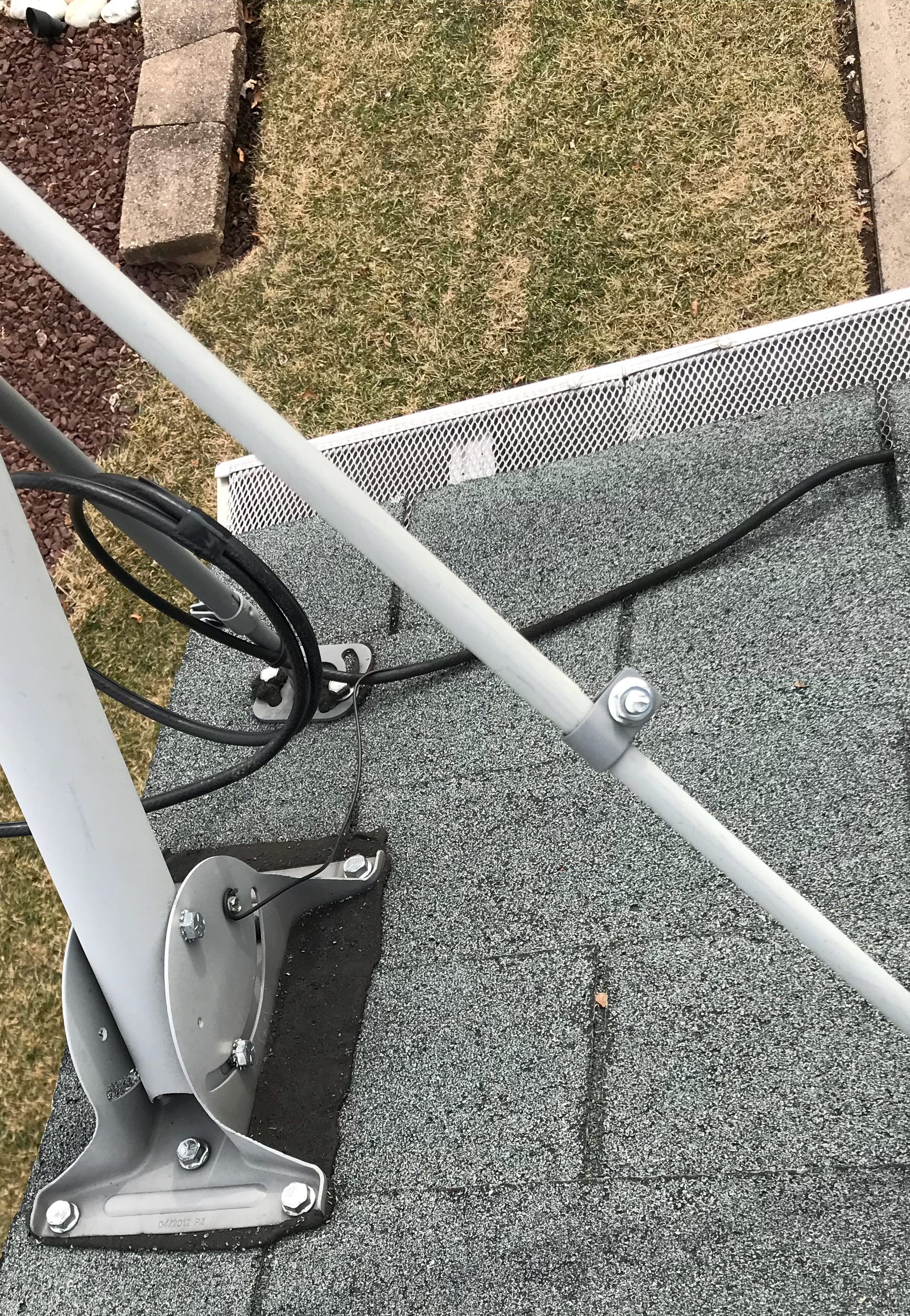 that is a ground wire running from the coax cable to the nut on satellite dish mounting frame right may i assume this rig is properly grounded  [ 1982 x 2866 Pixel ]