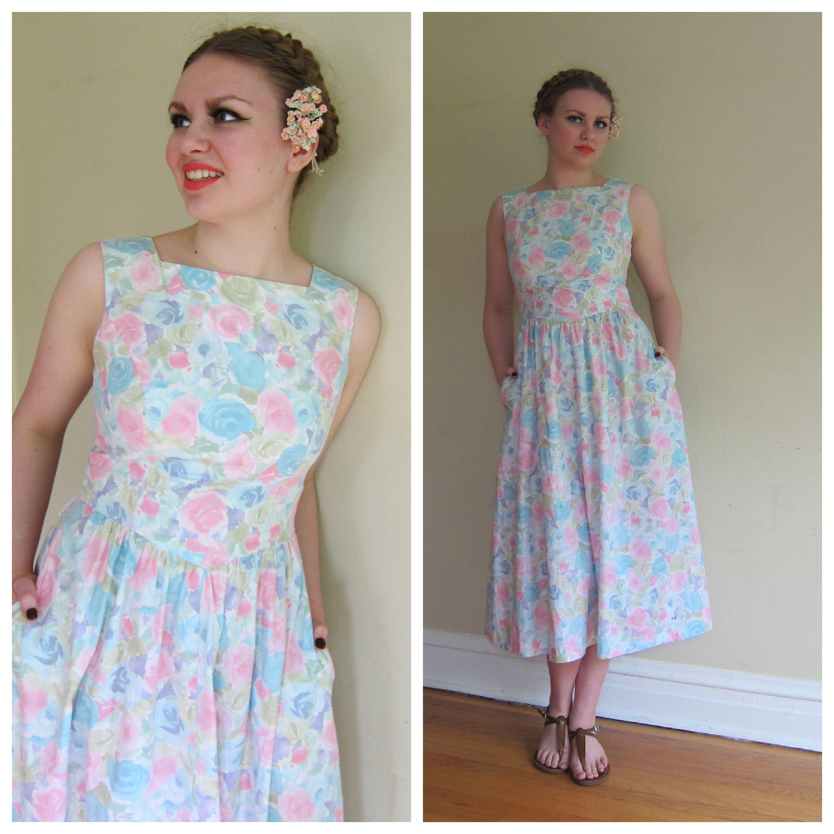 f89d17a1694f 1980s Dress / 80s Floral Print Dress / Lanz Sundress in Pastel Cotton Print  / Sleeveless Summer Dress Midi Length / Med by BasyaBerkman on Etsy