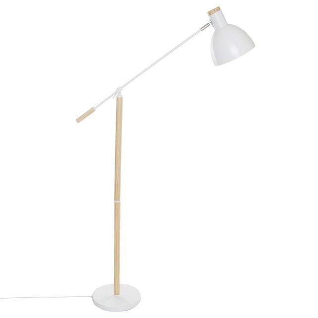Lampadaire bois et métal Anit Hauteur 145 cm Blanc