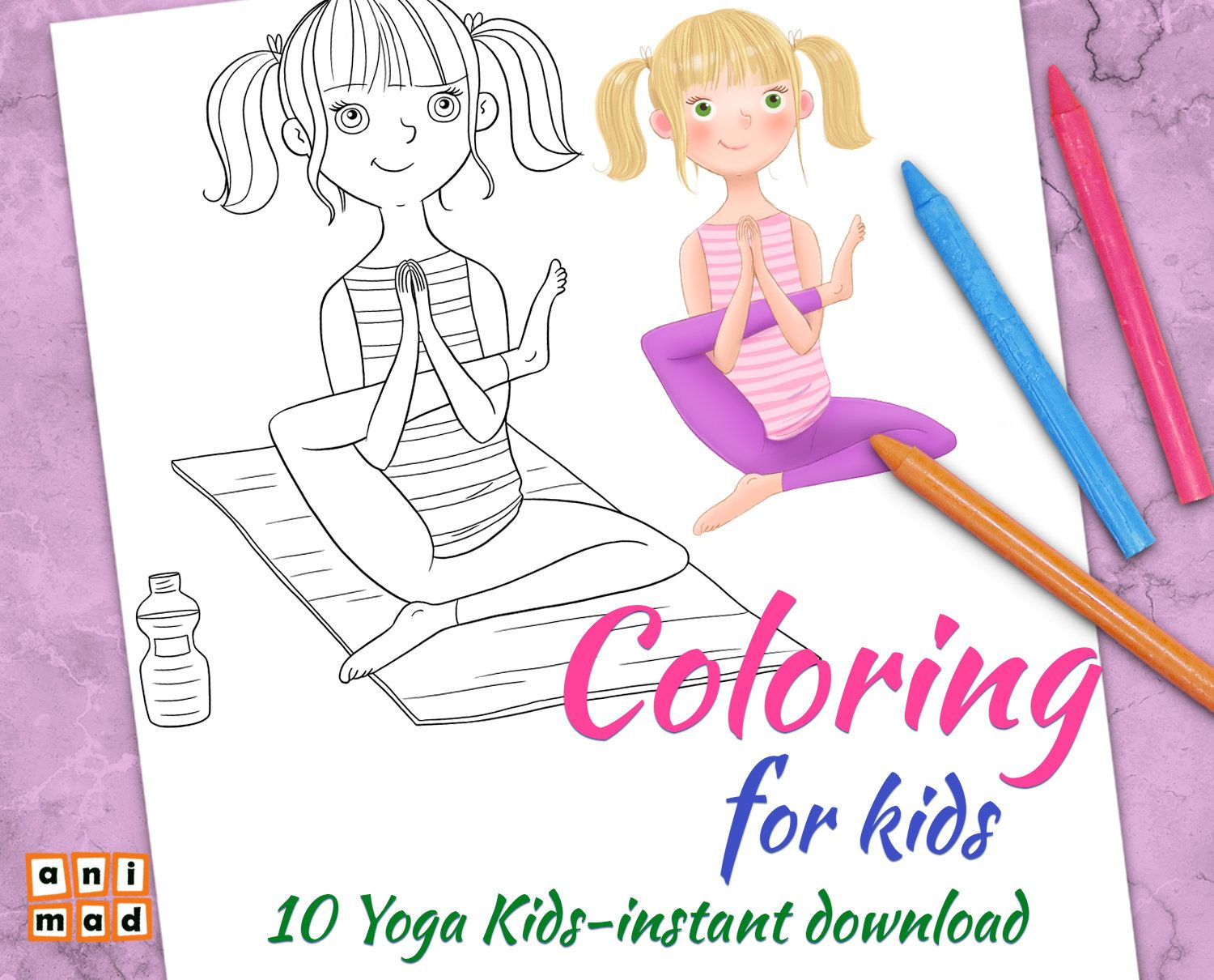 Coloring Pages For Kids 10 Yoga Kids Coloring Poses Instant Etsy Coloring Pages For Kids Yoga For Kids Kids Clipart [ 1210 x 1500 Pixel ]