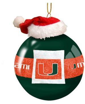 Memory Company Miami Hurricanes Glass Santa Belt Christmas Ornament - Orange
