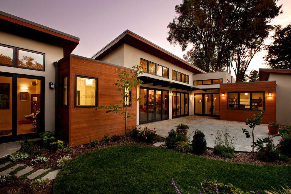 cedar fascia exterior contemporary with dark metal roof metal