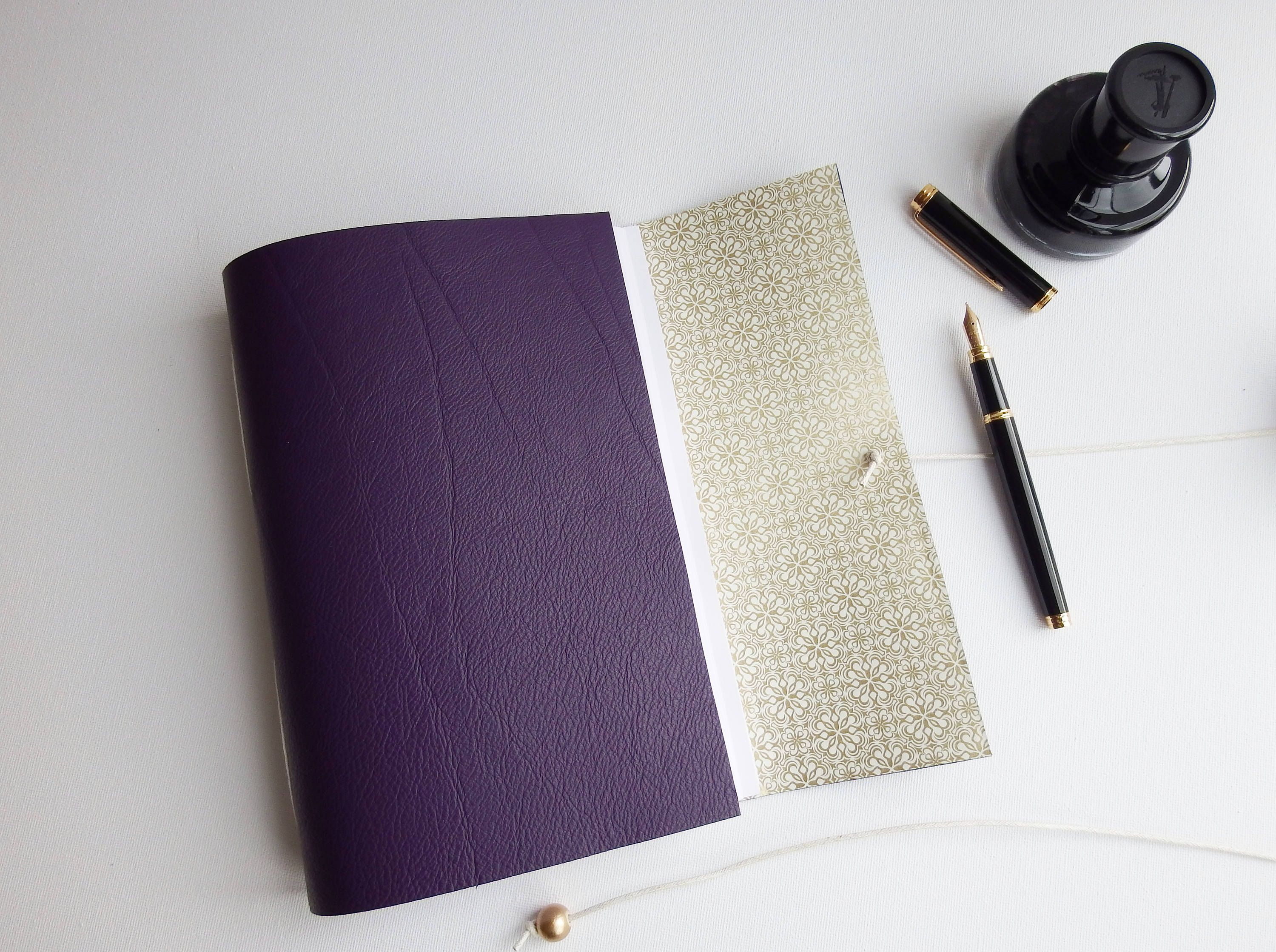 Purple Leather Wedding Journal Planner Gift Dot Grid Lined Dotted Book Bujo Blank Mindfulness
