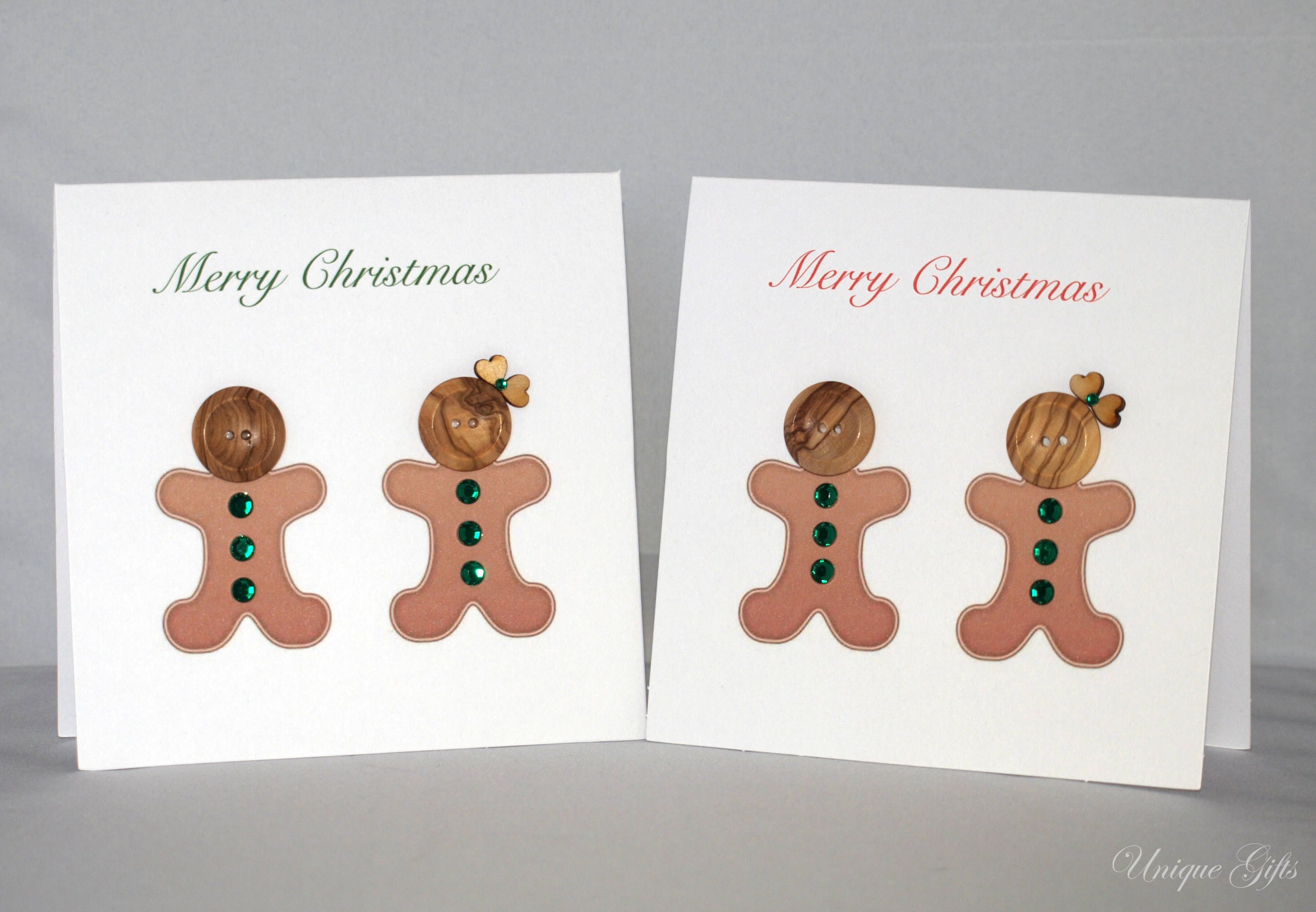 Button Card Gingerbread Men Christmas Card Personalised Card