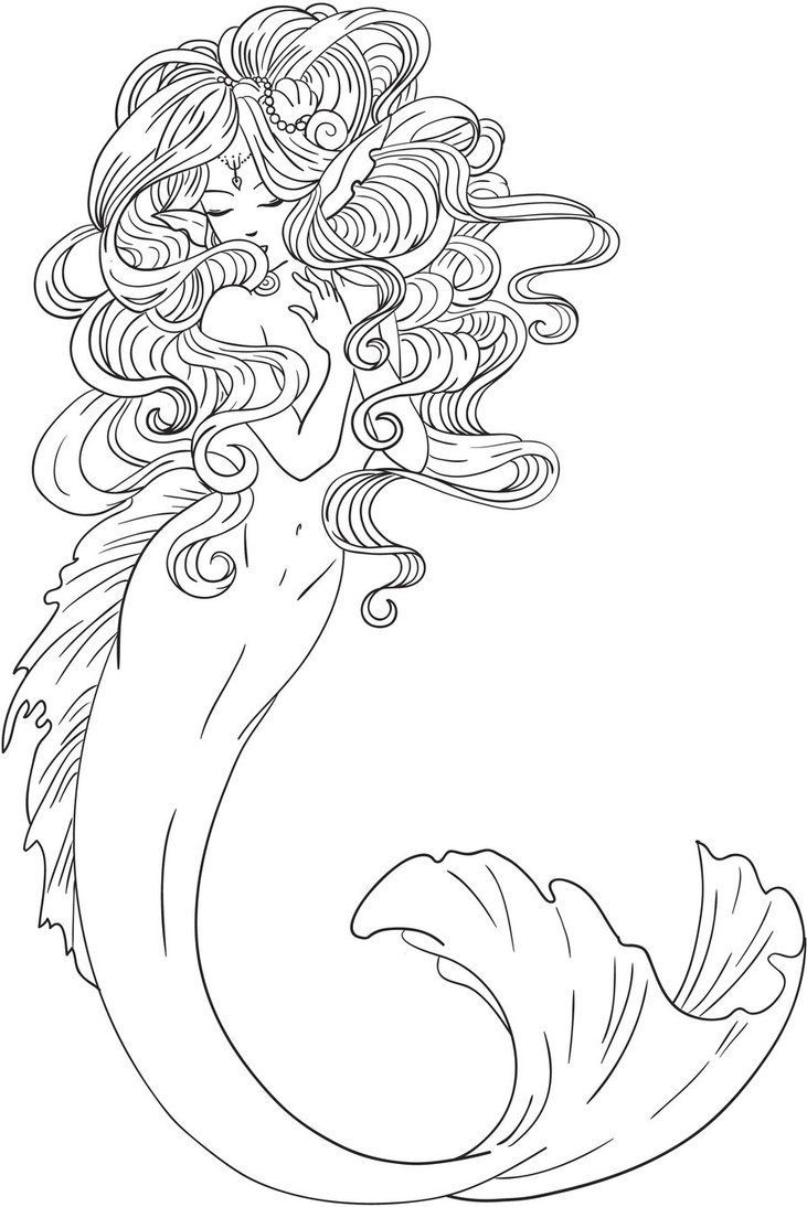 original coloring pages mermaid scales coloring pages line art for kids and grown - Line Art Coloring Pages