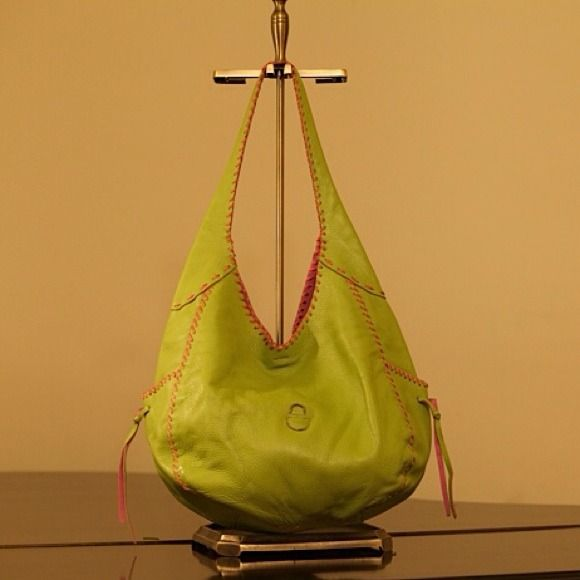 "Sondra Roberts Bag! Lime green leather Sondra Roberts bag with pink trim and pink interior Strap length 11"" Gently used W---13"" H---11"" D---5"" Sondra Roberts Bags"