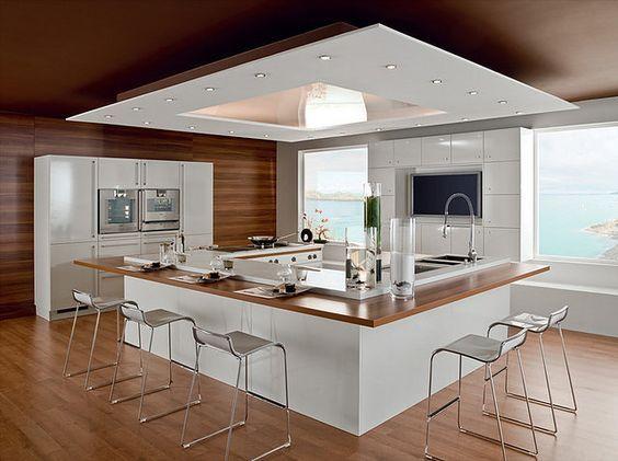 Modelos De Islas Para Cocinas Modernas Minimalistas Cocinas Modernas Con Isla Central Y Modelos De Cocinas Modernas Cocinas Modernas Grandes Diseno De Cocina