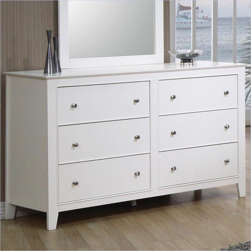 Coaster selena 6 drawer double dresser in white finish