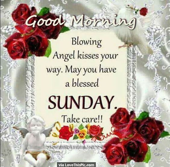 Good Morning Sunday Sending You Angel Kisses Weekday Morning