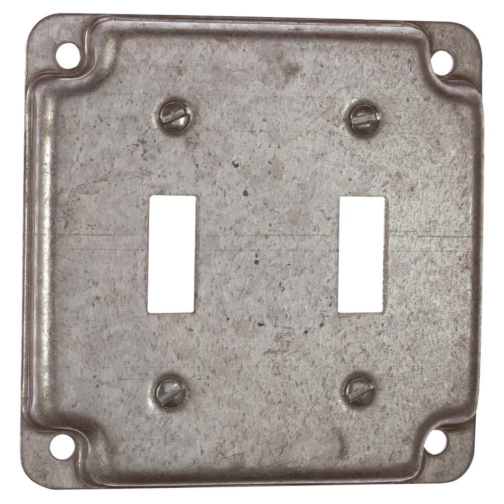 Steel City 2 Gang 4 In Square Metal Electrical Box Surface Cover Double Toggle Device Case Of 10 Rs5 10r In 2020 Metal Electrical Box Covered Boxes Switch Plate Covers