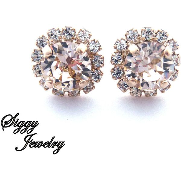 Crystal Halo Earrings, Made with Swarovski Crystals, 8mm Stud-Post,... ($25) ❤ liked on Polyvore featuring jewelry, earrings, clear stud earrings, rose gold earrings, swarovski crystal jewelry, wrap earrings and rose gold bridal earrings