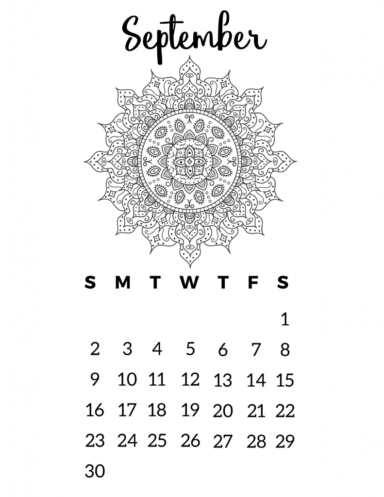 Free Printable 2018 Calendar – Mandala Coloring Pages | Dibujo