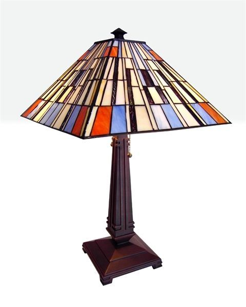 stained glass lamp shades mission styled tiffany style stained glass table lamp w 15. Black Bedroom Furniture Sets. Home Design Ideas