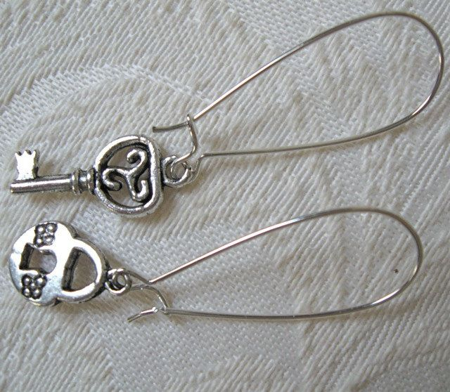 My dear 81 year old jewelry designer friend has relisted Lock and Key Earrings. $7.00.  They are one of my favorites!