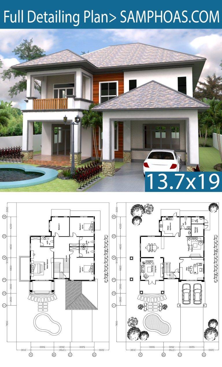 3 bedrooms villa plan 13 7x19m villa plan small cottage