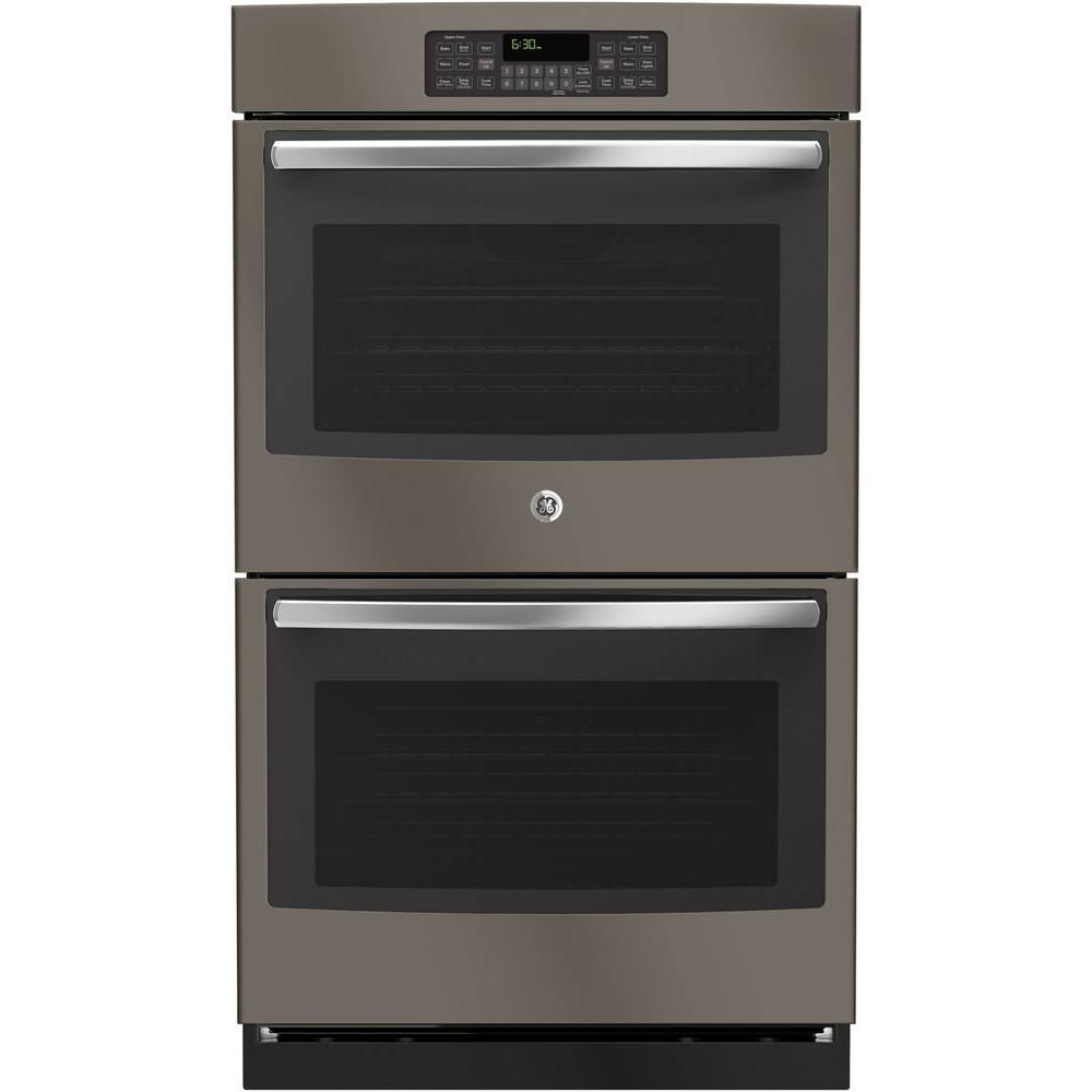 Ge 30 In Double Electric Wall Oven Self Cleaning With Steam In Slate Fingerprint Resistant Jt3500ejes Trendy Kitchen Backsplash Kitchen Layout Plans Wall Oven
