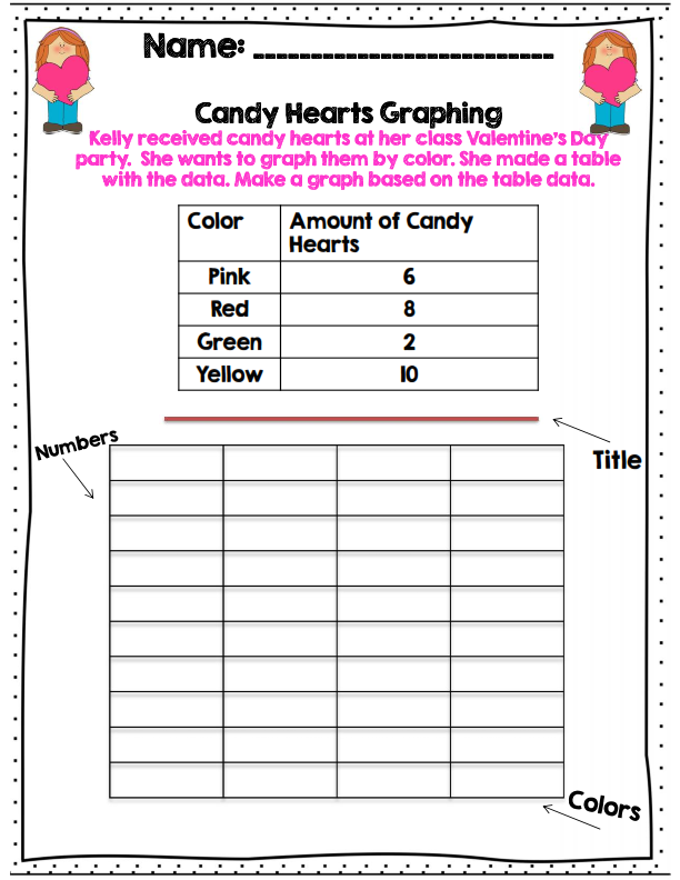 Candy hearts graphing activity for 2nd grade. part of 40 pg common ...
