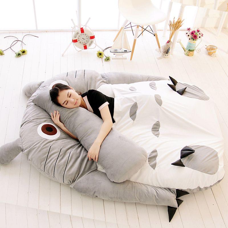 Barato Totoro colchão tatami grande macio cama espreguiçadeira sofá amantes cama de colchão de casal espessamento saco de dormir caricatura, Compro Qualidade Capa de colchão diretamente de fornecedores da China:   Detalhes do produto