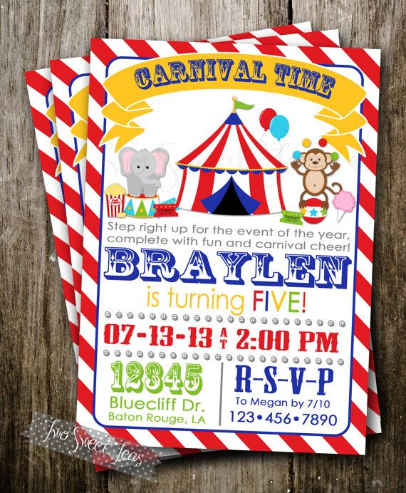 carnival invitation circus fair elephant monkey games big top modern