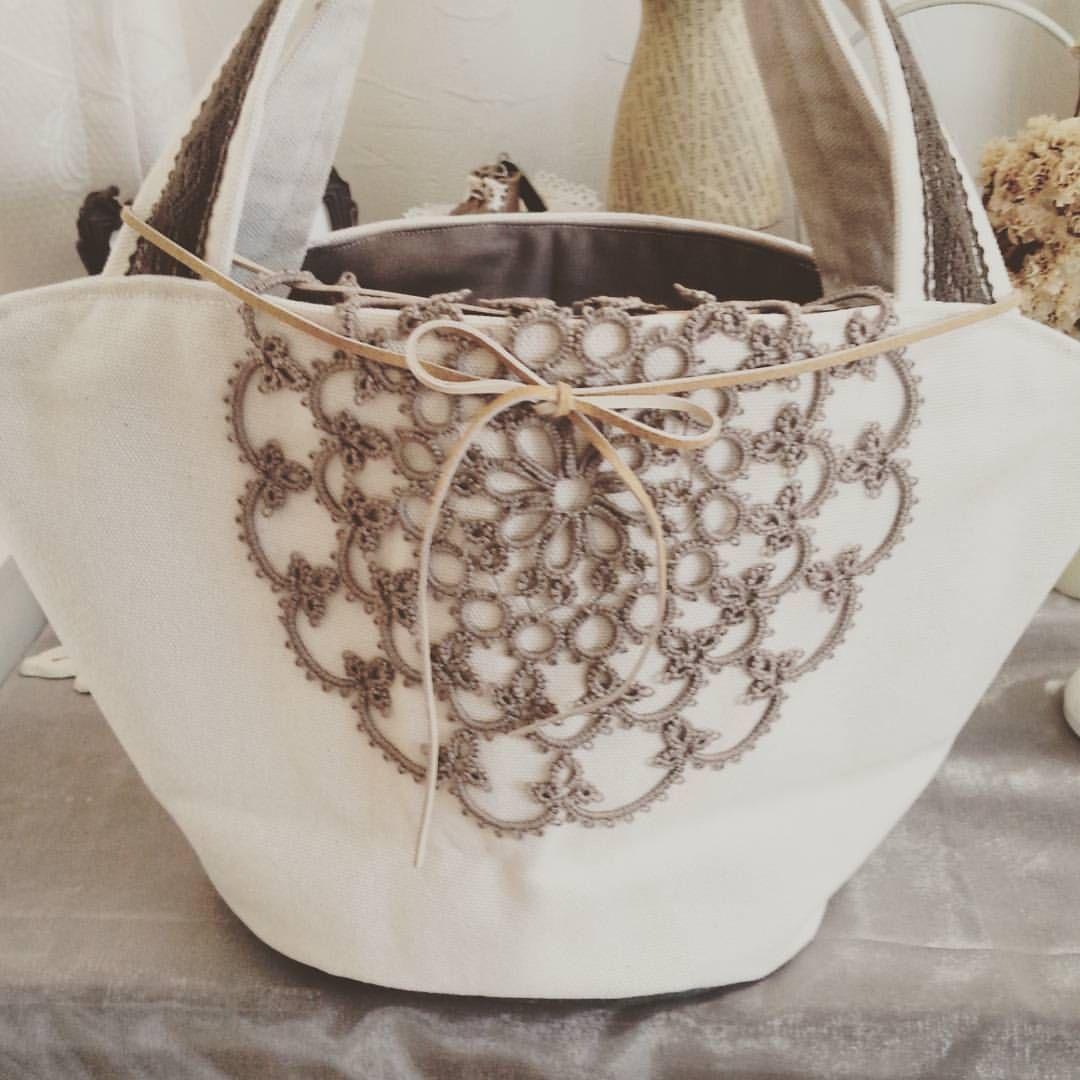 #タティングレースドイリー&#8号帆布生成りのマルシェバッグ♪#手作りバッグ
