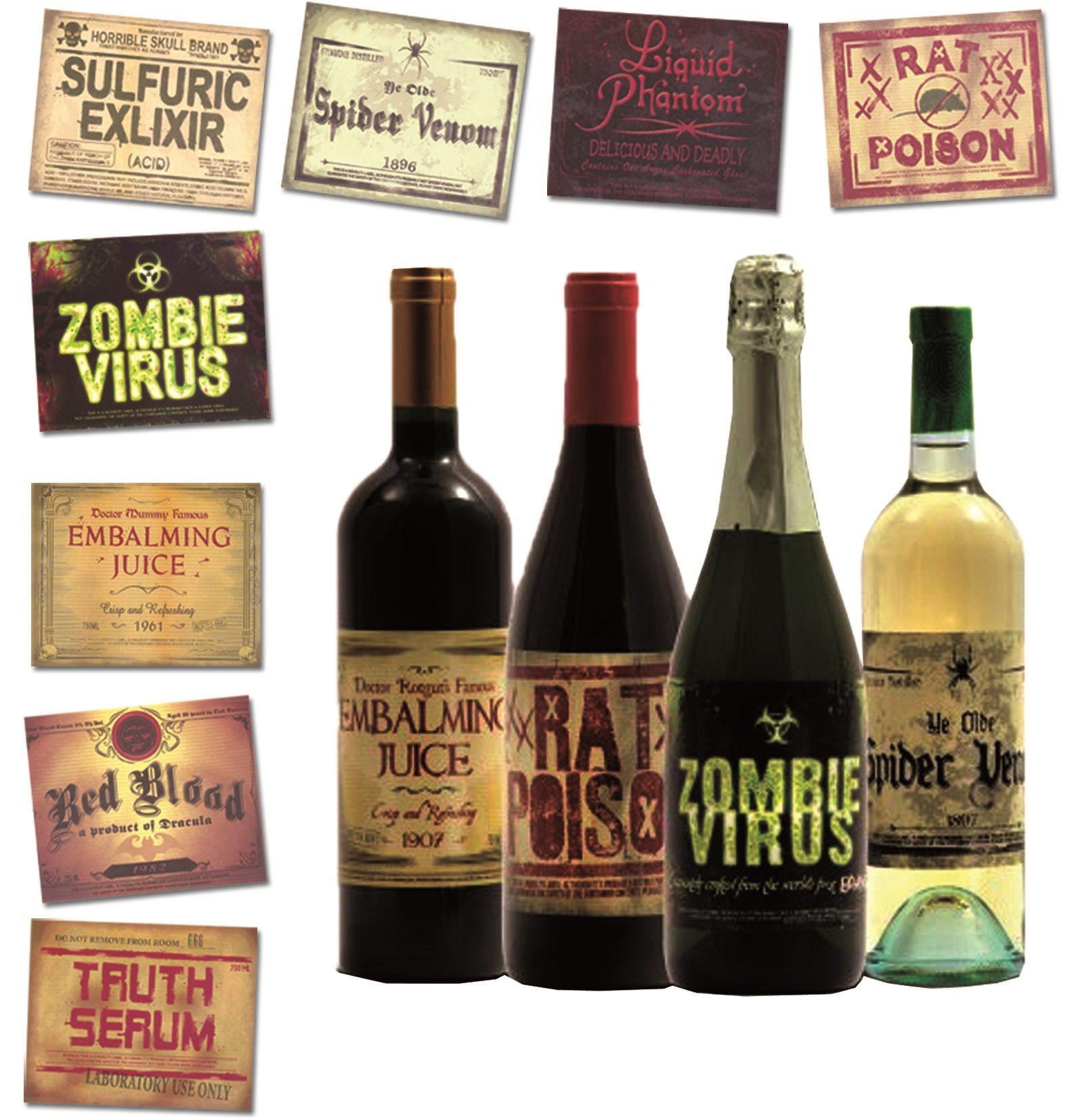 Halloween Flaschen-Etiketten   Handmade   Pinterest   Horror party